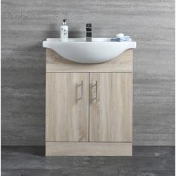 Waschtischunterschrank mit Waschbecken 650mm - Eiche mit 2 Türen, von Hudson Reed