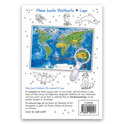 Meine bunte Weltkarte Lernposter DIN A3 laminiert + Lupe 2 Teile