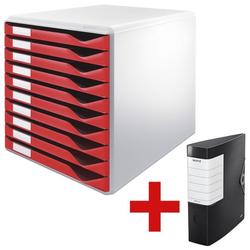 Schubladenbox »Formular-Set 5281« inkl. Ordner »180° Solid 1112« rot, Leitz, 29.1x29.2x35.2 cm