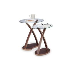 relaxdays Beistelltisch Beistelltisch Glas oval im 2er Set