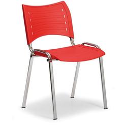 Kunststoffstuhl smart, chromfüße, rot