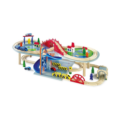 Small Foot Spielzeug-Eisenbahn Doppelstöckige Eisenbahnlandschaft mit Zubehör
