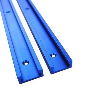 Mioloe T-Schienen Aluminium-Gehrungs-Gehrungsklemme, Laschen-Schienen-Schablone, Befestigungsschienen-Schablone T-Nut-Schablone für Routertisch (600mm, Blau)