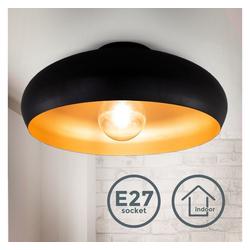 B.K.Licht Deckenleuchte BKL1269, Deckenleuchte Deckenlampe Retrolampe Vintage E27 1-flammig Schwarz-Gold Ø39,5cm ohne Leuchtmittel
