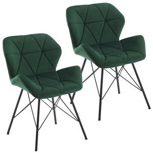 Duhome Esszimmerstuhl, 2er Set Stuhl Esszimmerstuhl Kunstleder, Samt oder Stoff Lederoptik Metallbeine grün