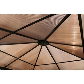 Outflexx Hardtop Pavillon 3 x 3,6 m inkl. Seitenteile anthrazit/braun