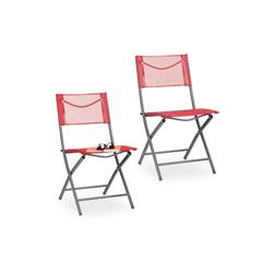 relaxdays Klappstuhl Klappbarer Gartenstuhl 2er Set rot