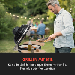 Queensize Kamado Grill Thermometer abnehmbare Seitenteile schwarz