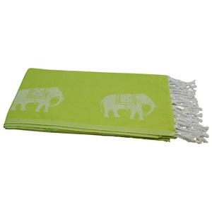 my Hamam Hamamtücher Hamamtuch kiwigrün weiß, mit kleinen Elefanten (1-St), kompakt