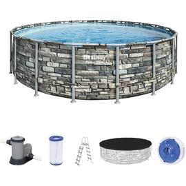 BESTWAY Power Steel Frame Pool Set 549 x 132 cm inkl. Filterpumpe Steinoptik