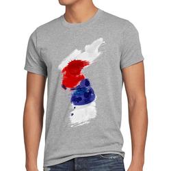 style3 Print-Shirt Herren T-Shirt Flagge Korea Fußball Sport Hangug WM EM Fahne grau XL