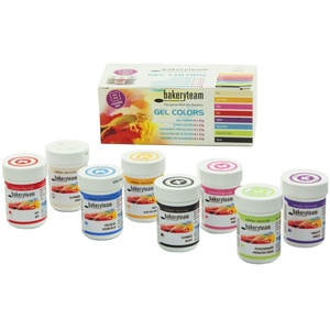 bakeryteam Gel Lebensmittelfarben für Fondant Marzipan Cupcake Sahne Kuchen Torte Eis Farben Set, 8 x 35 g