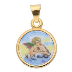 Adelia´s Kettenanhänger 585 Gold Anhänger Amor Ø 12 mm, Goldschmuck für Damen