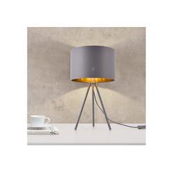 lux.pro Tischleuchte, Metz Tischlampe mit Stoffschirm und Metallfüße Tripod grau-gold