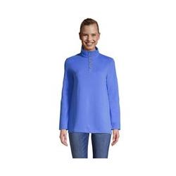 Sweatshirt mit Knopfkragen, Damen, Größe: L Normal, Blau, Cord, by Lands' End, Vergissmeinnicht - L - Vergissmeinnicht