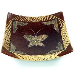 Guru-Shop Dekoschale Keramikschale, Obstschale braun 30 cm x 30 cm x 4 cm