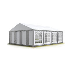 TOOLPORT Party-Zelt Festzelt 4x8 m Garten-Pavillon -Zelt ca. 500g/m² PVC Plane in grau-weiß