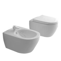 Alpenberger Bidet Spülrandloses Hänge-WC & Bidet mit Überlauf &, Wandmontage, Set, 3-tlg. weiß