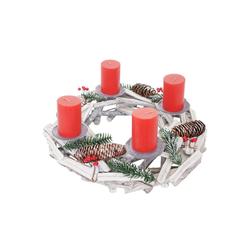 MCW Adventskranz T870, Ø 40 cm, Mit 4 Kerzenhaltern, Aufwendig geschmückt weiß