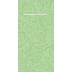 """Mank Pocket-Napkins Ornaments """"LIAS"""" Besteckservierttentasche, 40 x 40 cm, 1/8 Falz, 60 g, 1 Karton = 4 x 75 Stück = 300 Servietten, pistazie"""