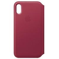 Apple iPhone X Leder Folio Case himbeere