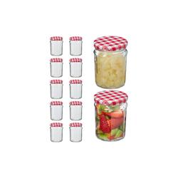 relaxdays Einmachglas Einmachglas 12er Set 380 ml, Glas rot