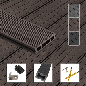 Montafox WPC Terrassendielen Dielen Komplettset Hohlkammerdiele Komplettbausatz Unterkonstruktion Clips, Größe (Fläche):50 m2 4m, Farbe:Dunkelbraun