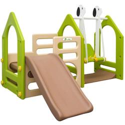 Kinder Spielplatz ab 1 Jahr 155x135 Garten Spielturm - Baby Rutsche mit Schaukel
