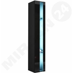 Vitrine Rack New 180 Hängeschrank Regal mit Glasböden LED Schwarz NEU