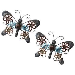 BONETTI LED Solarleuchte 2er Set Wanddekoration Schmetterling mit Solarlampe, aus Metall, kalt-weiße LEDs, moderne Wanddeko
