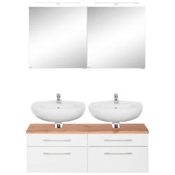 HELD MÖBEL Badmöbel-Set Davos, (2-tlg), 2 Spiegelschrank und Waschbeckenunterschrank weiß