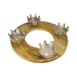 MEA LIVING Kerzenständer Kerzenhalter mit 4 Kronen, rund braun