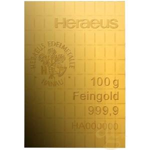 100 x 1g Gold Heraeus Combibarren / Goldtafel / Tafelbarren