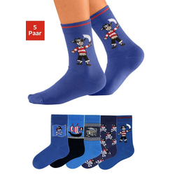 Go in Socken (5-Paar) mit Piratenmotiven 35-38
