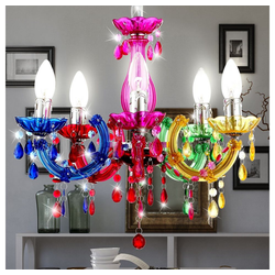 etc-shop Kronleuchter, Kronleuchter Hänge Lampe bunt Pendel Beleuchtung im Set inklusive LED Leuchtmittel