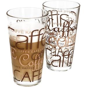 2er Set Latte Macchiato Glas 39cl stapelbar Coffee Dekor