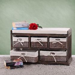 Kommode und Sitzbank mit 5 Schubladen, 77x45x36cm, Shabby-Look, Shabby-Chic, Vintage ~ braun
