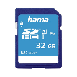 Hama SDHC Speicherkarte 32 GB, Class 10 UHS-I 80MB/s Speicherkarte SD Memory Card blau