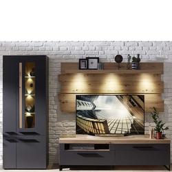 Fernseher Schrankwand in Dunkelgrau und Wildeiche Optik LED Beleuchtung (3-teilig)