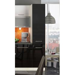 Feldmann-Wohnen Apothekerschrank ESSEN (Apothekerhochschrank, Küchenschrank) ES-2D14K/40/kargo - Korpus- und Frontfarbe wählbar schwarz