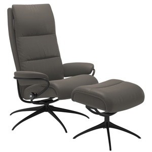 Stressless Ruhesessel Tokyo High Back (M) in Paloma metal grey mit Star in schwarz Gestell