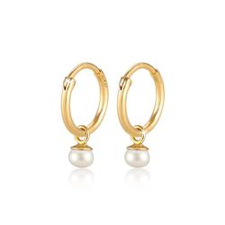 Ohrringe Modische Creolen Süßwasserzuchtperle 925 Silber Elli Premium Gold