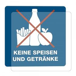 3 Stück Hinweis-Hinterglasaufkleber - Keine Speisen und Getränke