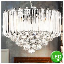 etc-shop Hängeleuchte, LED 12 Watt Pendel Lampe Beleuchtung Acryl Kristalle klar Decken Licht Hänge Leuchte
