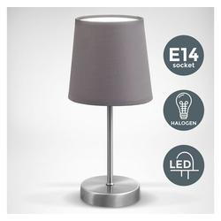 B.K.Licht Tischleuchte BKL1197, LED Tischleuchte Stofflampe grau, matt-nickel E14 Tischlampe Nachttischlampe mit Schalter IP20