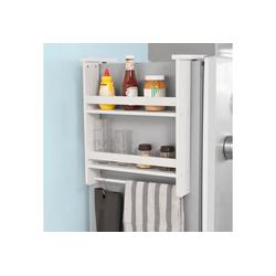 SoBuy Hängeregal FRG150, für Kühlschrank mit 5 Haken Küchenregal Gewürzregale weiß 45 cm x 50 cm x 10 cm
