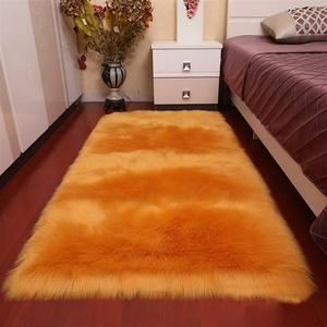 Insun Faux Lammfell Schaffell Teppich Flauschig Weiche Nachahmung Wolle Rechteck Teppich Langflor Matte für Wohnzimmer Schlafzimmer Kinderzimmer Auto Orange 40x60cm