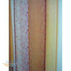 Musterfenster Vorhang Gardinen 4 Flächenvorhänge orange rot, fertig genäht