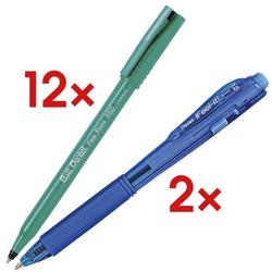 12er-Set Einweg-Tintenroller Ball »Fine Point R50« inkl. 2 Kugelschreiber »BX-44 schwarz, Pentel
