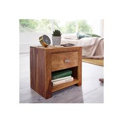FINEBUY Nachttisch FB37323, Nachttisch aus Sheesham Massiv-Holz 40 x 40 x 30 cm Nacht-Kommode braun mit 1 Schublade und 1 Ablagefach Nachtschrank Landhaus-Stil Echt-Holz (FSC® Mix)